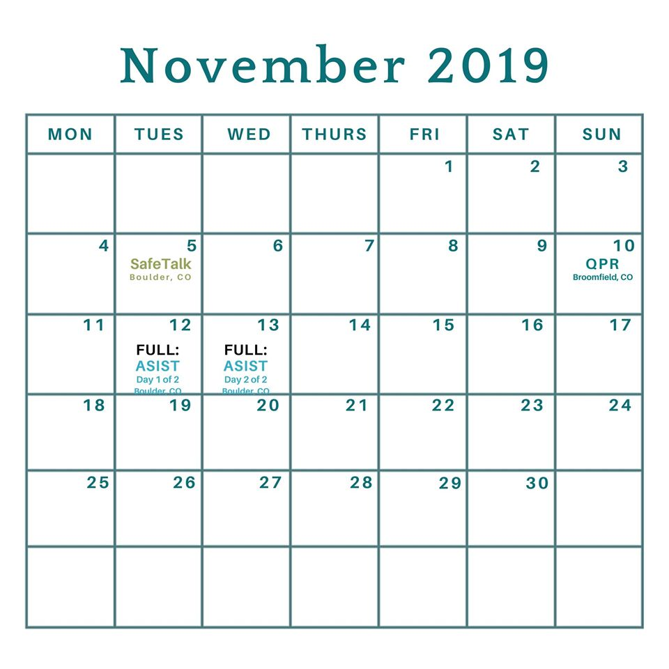 November 2019 Training Calendar
